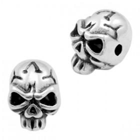 Kralen DQ metaal skull  Antiek zilver (nikkelvrij)