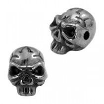 Kralen DQ metaal skull  Zilver antraciet (nikkelvrij)