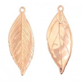DQ metaal bedel blad 35x13mm Rosé goud (nikkelvrij)