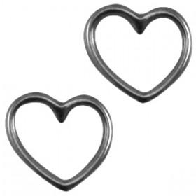 DQ metaal bedel hart Zilver antraciet (nikkelvrij)