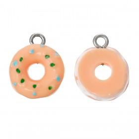 Resin Charm Roze-oranje donut