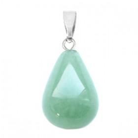 Half edelsteen hanger druppel Green jade