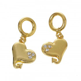 Charms Pendant hart Gold Plated met rhinestones