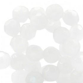 Tsjechische facetkraal 10mm Off white half opal