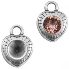 DQ metaal bedel/hanger hart voor puntsteen SS24 Antiek Zilver (nikkelvrij)
