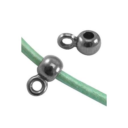 DQ Ring met oog voor 2mm leer Zilver antraciet ( nikkelvrij )