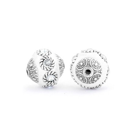 Indonesische Kraal 14mm White-crystal-silver
