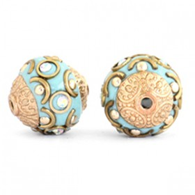 Indonesische Kraal 14mm Light blue-crystal AB-gold