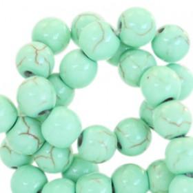 Keramiek turquoise kralen rond 6mm Turquoise green