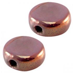 DQ Griekse keramiek kralen 13mm rond plat rond plat Aubergine paars - rose gold