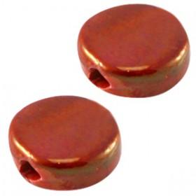DQ Griekse keramiek kralen 13mm rond plat rond plat Red - gold