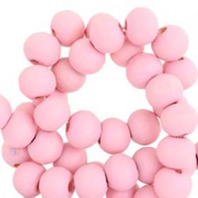 Houten Kralen Rond 6mm Bright pink