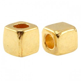 DQ Metalen spacer gold Cube 4mm
