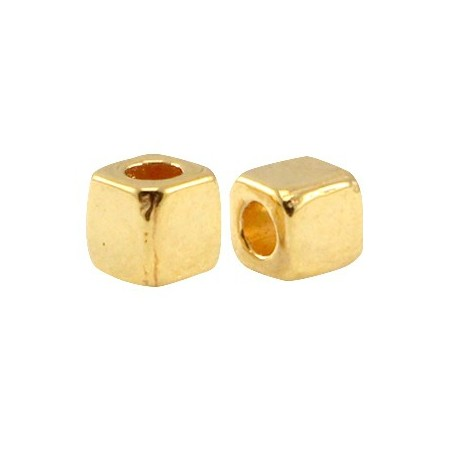 DQ Metalen spacer gold Cube 4mm