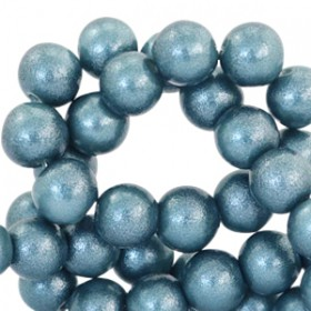 Glaskraal pearl glitter Mosaic blue 8mm
