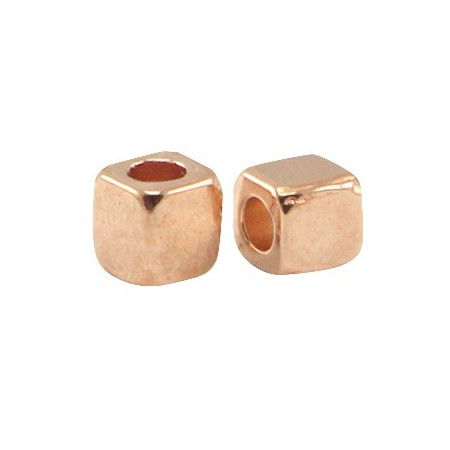 DQ Metalen spacer rose gold Cube 4mm
