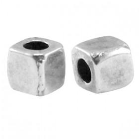 DQ Metalen spacer antiek zilver Cube 4mm