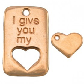 DQ metaal bedel ''I give you my'' met hartje uitgesneden Rosé goud (nikkelvrij)
