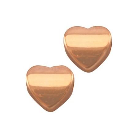 DQ metalen kraal hart 8 mm Rosé goud (nikkelvrij)