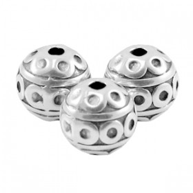 DQ Metalen kraal deco 8mm Antiek zilver (nikkelvrij)