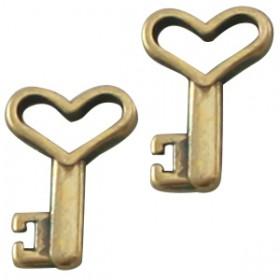 DQ metaal bedel sleutel Antiek Brons ( nikkklvrij )