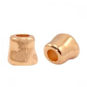 Kralen DQ metaal tube 7x7mm Rosé goud (nikkelvrij)