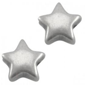 DQ metaal ster 6 mm Antiek Zilver ( nikkelvrij )
