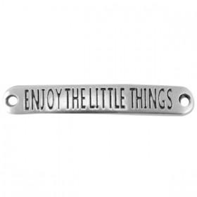 """DQ tussenstuk met quote """"Enjoy the little things"""" Antiek zilver (nikkelvrij)"""