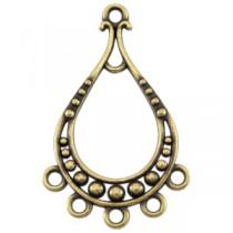 DQ metaal hanger in druppelvorm met 5 ogen Antiek brons (nikkelvrij)