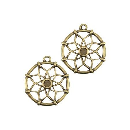 DQ metalen bedels dreamcatcher (voor Swarovski SS16 flatback) Antiek brons (nikkelvrij)