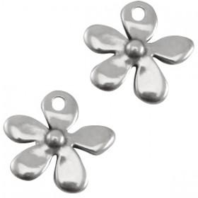 DQ Bedeltje metaal bloemetje  Antraciet zilver (nikkelvrij)