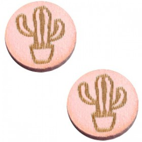 Basic houten cabochon 12mm cactus Pink