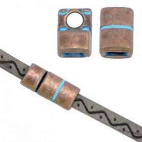 DQ metaal magneet sluiting (voor 5mm plat leer) Koper patina (nikkelvrij)
