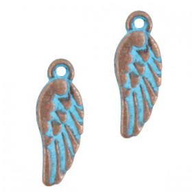 DQ metalen bedel Angel wing Koper patina (nikkelvrij)