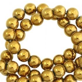Hematite kralen rond 8mm Gold