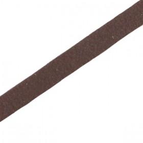 DQ leer suède plat 5mm Dark chocolate brown