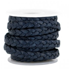 DQ leer plat gevlochten 5mm Dark blue