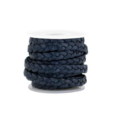 DQ leer plat gevlochten 5mm Dark blue