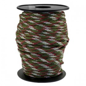 Paracord 4mm Army green-aubergine wit