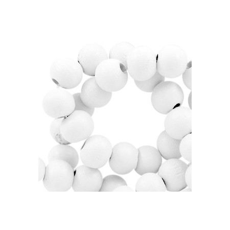 Houten Kralen Rond 8mm Bright white