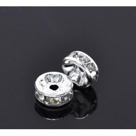 Metalen spacer zilver disc met rhinestones 8mm