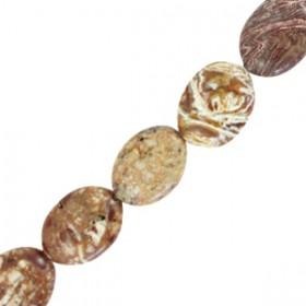 Half edelsteen kralen ovaal Grain stone brown