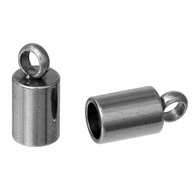 Endcaps 304 Stainless steel zilverkleur  8.5x4mm