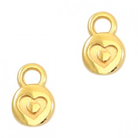 DQ metaal bedel rond 6mm heart Gold (nikkelvrij)