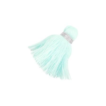 kwastjes 3.6cm Zilver-light turquoise
