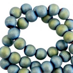 Hematite kralen rond 8mm mat Indicolite blue