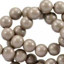 Glaskraal 4 mm opaque Metallic greige brown