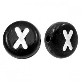 Acryl letterkraal rond X zwart