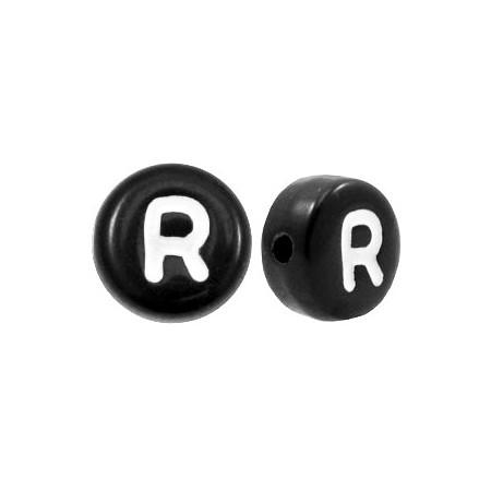 Acryl letterkraal rond R zwart