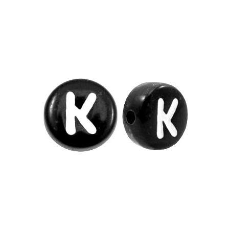 Acryl letterkraal rond K zwart